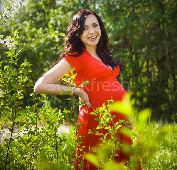Mooie zwangere vrouw rode jurk bloei voorjaar portret Stockfoto © dashapetrenko