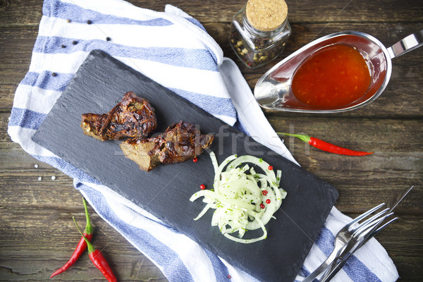BBQ steak. Barbecue grilled beef steak meat. Healthy food. Barbe Stock photo © dashapetrenko