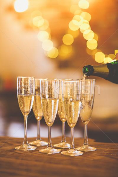 シャンパン 眼鏡 金 パーティ 休日 お祝い ストックフォト © dashapetrenko