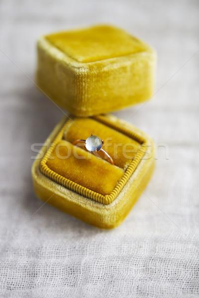 Engagement ring in the box on gray background Stock photo © dashapetrenko