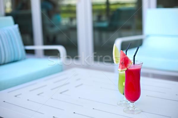 Szemüveg friss gyümölcs dzsúz nyár bár ital Stock fotó © dashapetrenko
