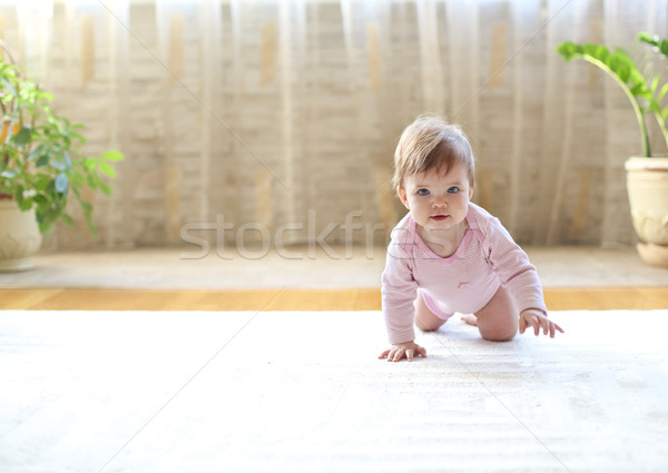 Ocho mes caucásico bebé casa retrato Foto stock © dashapetrenko