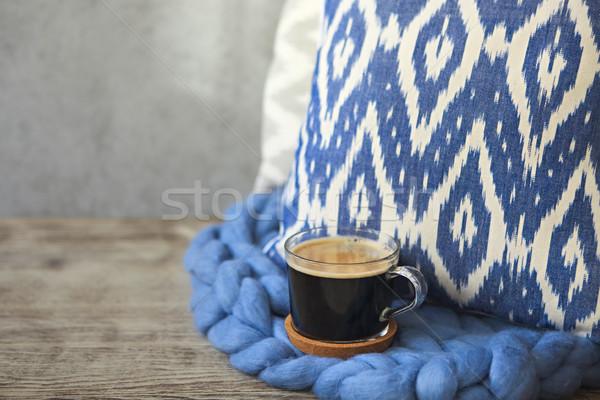 Blu cuscino coperta Cup caffè legno Foto d'archivio © dashapetrenko