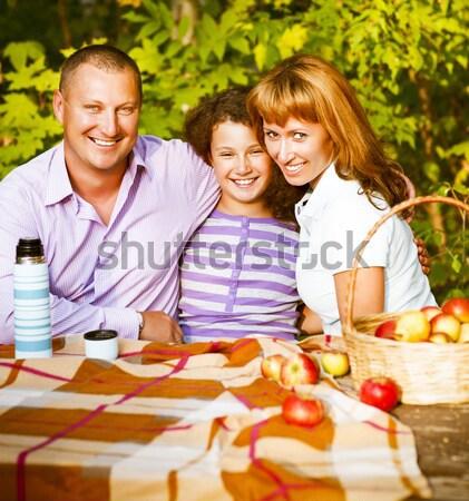 Feliz jovem família filha ao ar livre outono Foto stock © dashapetrenko