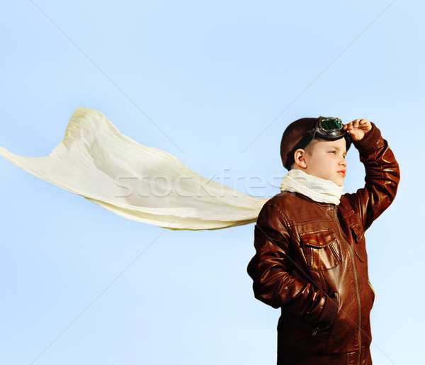 Little boy dreaming of becoming a pilot in retro style  Stock photo © dashapetrenko