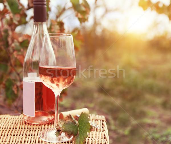 One glass and bottle of the rose wine in autumn vineyard Stock photo © dashapetrenko