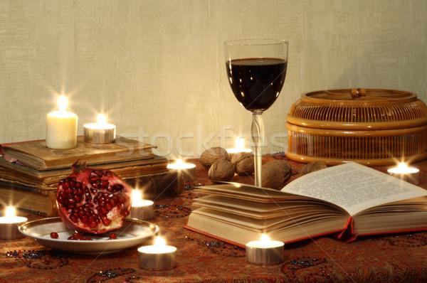 Still life with pomegranrte and wine Stock photo © dashapetrenko