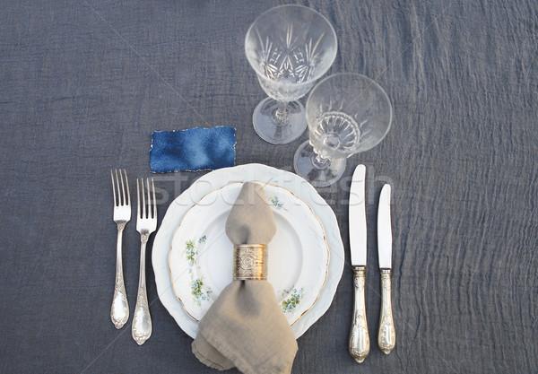 Table set for dinner, close up  Stock photo © dashapetrenko