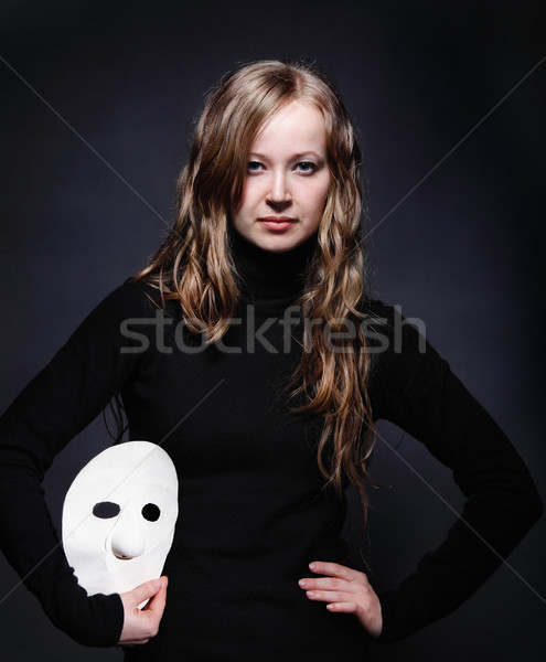 Low key portrait of a beautiful girl with mask  Stock photo © dashapetrenko