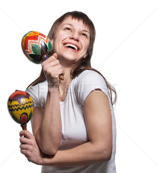Happy smiling woman with maracas  Stock photo © dashapetrenko