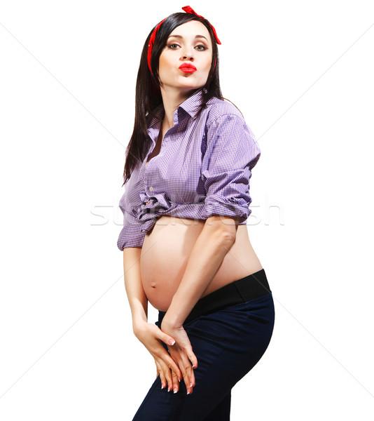 Happy young funny pregnant woman Stock photo © dashapetrenko