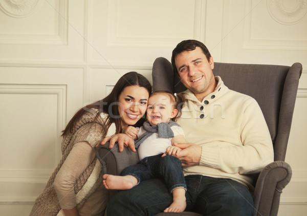 счастливая семья один год счастливым улыбаясь Сток-фото © dashapetrenko