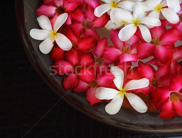 Stockfoto: Kom · water · roze · witte · bloemen · spa