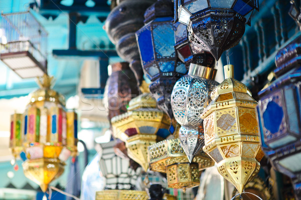 Traditional lamps in shop in the medina of Tunis,Tunisia Stock photo © dashapetrenko