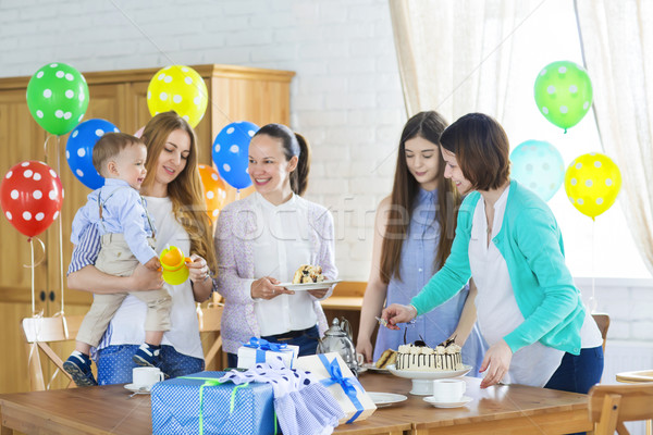 Pregnant woman with friends at a baby shower Stock photo © dashapetrenko