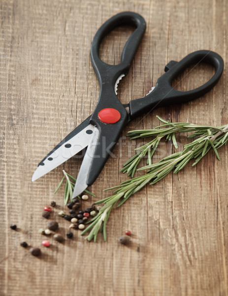Still life with fresh rosemary and scissors Stock photo © dashapetrenko