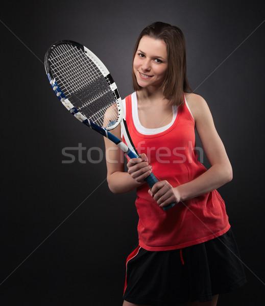 Photo stock: Portrait · adolescente · raquette · sport