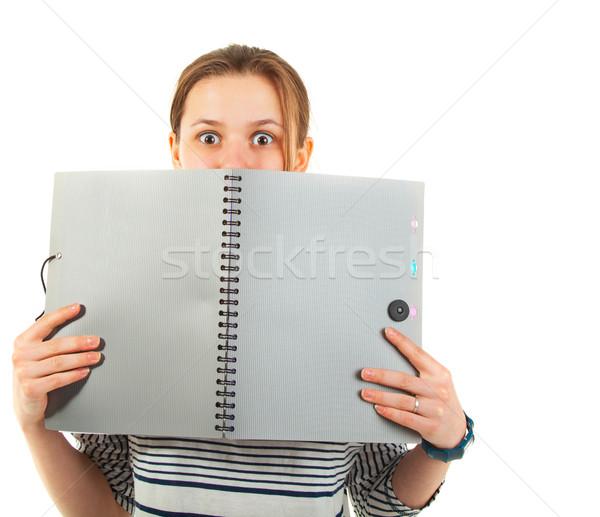 Nastolatek uczennica podręcznik odizolowany biały dziewczyna Zdjęcia stock © dashapetrenko
