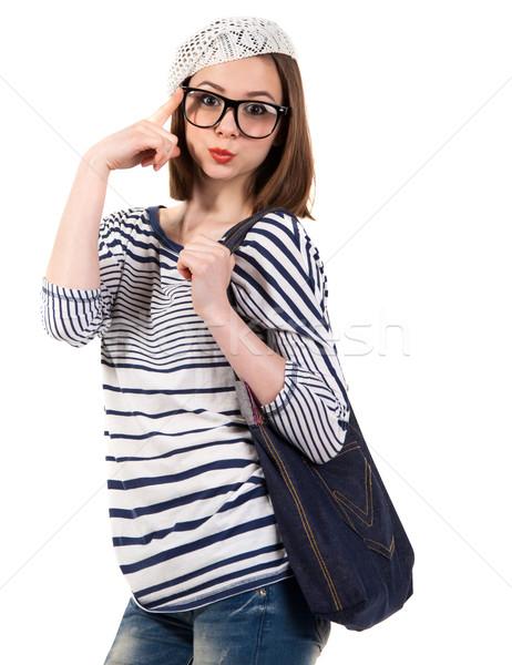 Fiatal aranyos barna hajú lány párizsi stílus Stock fotó © dashapetrenko