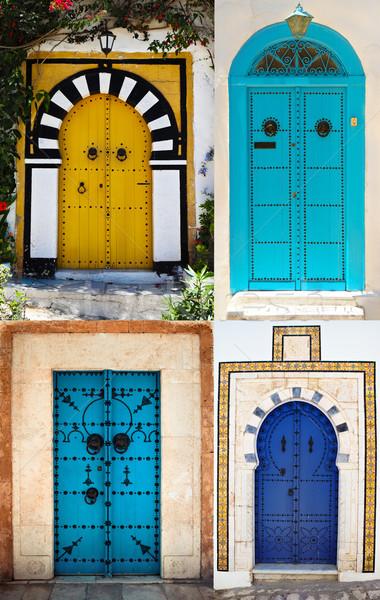 Portas la Tunísia branco azul cidade Foto stock © dashapetrenko