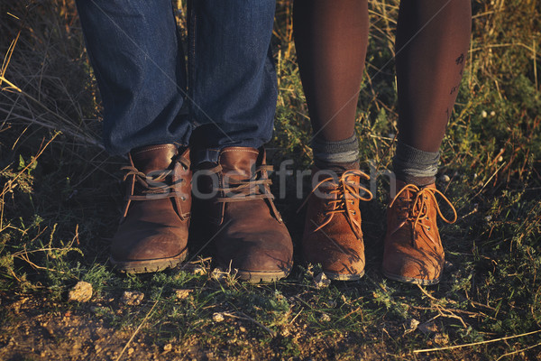 Couple man and woman feet in love romantic outdoor with autumn s Stock photo © dashapetrenko