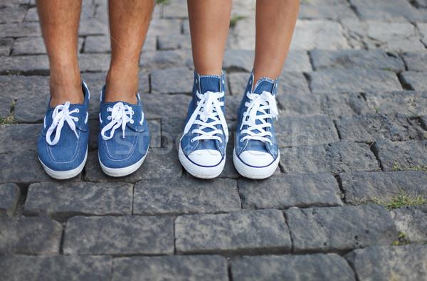 Vriendje vriendin voeten gelukkig Stockfoto © dashapetrenko