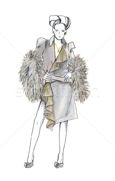 Stock photo: The woman dressed in autumn suit