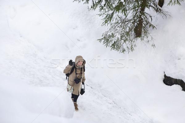 Profi női film fotós Oroszország márvány Stock fotó © dashapetrenko