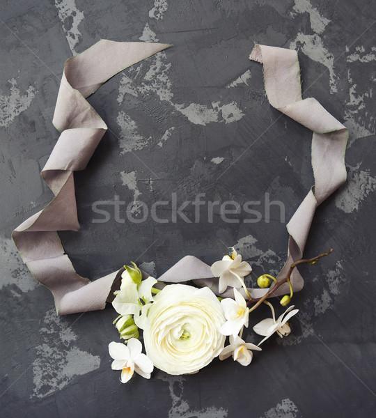 Stock fotó: Fehér · feketefehér · virágcsokor · fekete · felső · kilátás