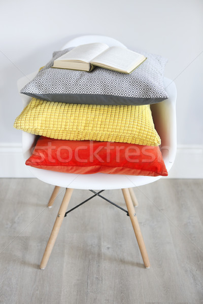 Close up of the chair in an interior with pillows in trendy colo Stock photo © dashapetrenko