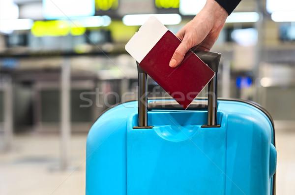 Beszállás passz útlevél csomagok közelkép üzlet Stock fotó © dashapetrenko