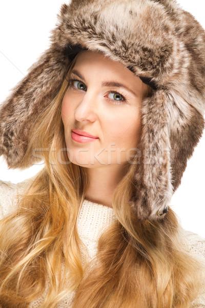 Retrato belo loiro menina pele seis Foto stock © dashapetrenko
