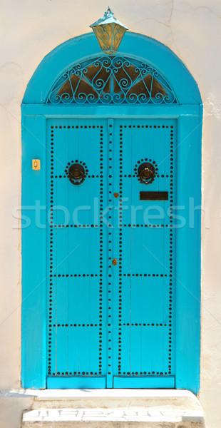 Kapı Tunus beyaz mavi kasaba Stok fotoğraf © dashapetrenko