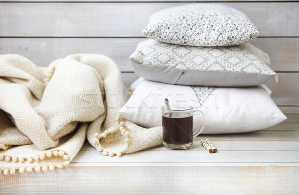 Cozy still life with coffee, pillows and plaid  Stock photo © dashapetrenko