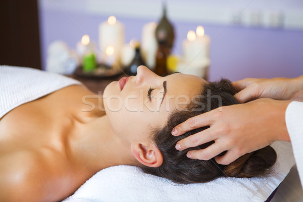 Portre genç kadın terapi kafa masaj Stok fotoğraf © dashapetrenko