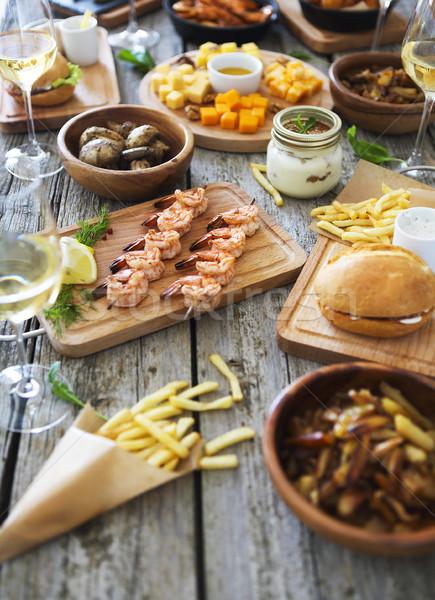 Familie diner witte wijn top Stockfoto © dashapetrenko