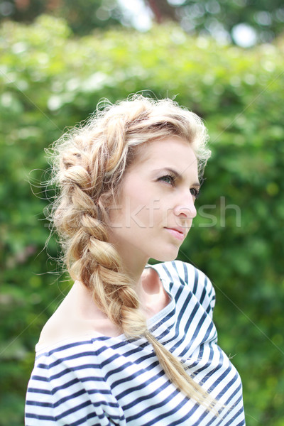 Blond girl with a hairdress Stock photo © dashapetrenko