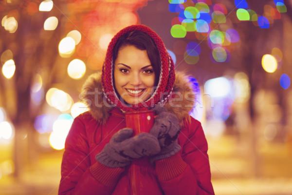 Portrait of young pretty woman outdoor in wintertime Stock photo © dashapetrenko