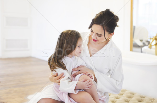 Daughter and mother having fun together after taking bath  Stock photo © dashapetrenko