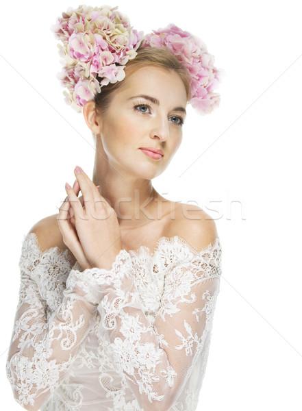 Beautiful blond girl with hydrangea in her hair Stock photo © dashapetrenko