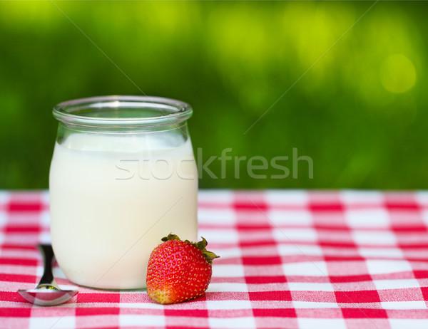 Strawberry Yogurt in a glass jar  Stock photo © dashapetrenko