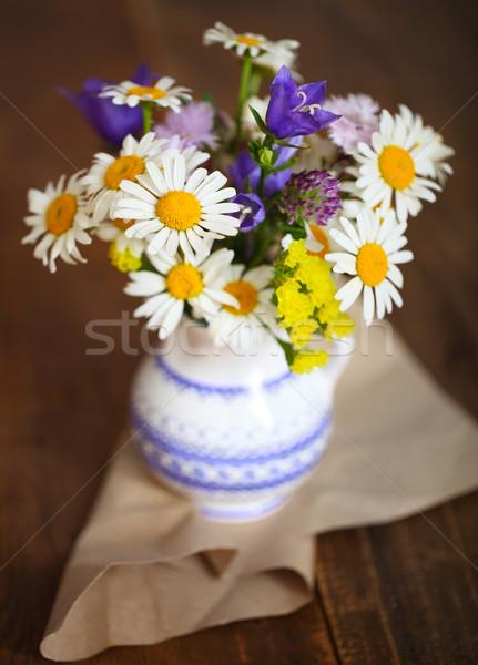 букет Полевые цветы деревенский таблице небольшой стране Сток-фото © dashapetrenko