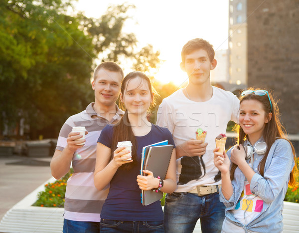 Stock photo: Group of college students during a brake between classes