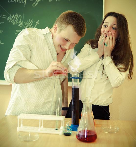студентов рабочих химии лаборатория классе жидкость Сток-фото © dashapetrenko