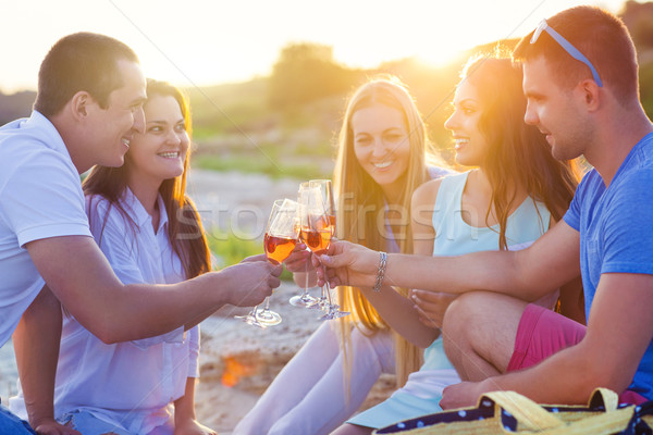 Group of friends toasting champagne sparkling wine at a relax pa Stock photo © dashapetrenko