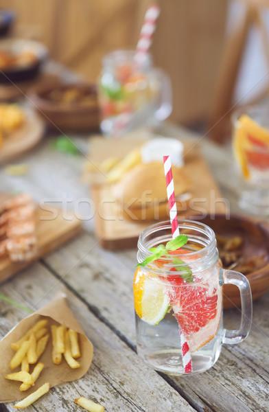 Doğal limonata tablo cam yaz açık Stok fotoğraf © dashapetrenko