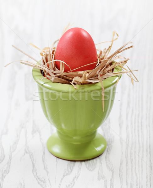 Uno uovo vaso legno rosa verde Foto d'archivio © dashapetrenko