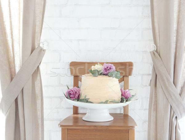 Düğün pastası kek durmak pembe çiçekler çiçek Stok fotoğraf © dashapetrenko