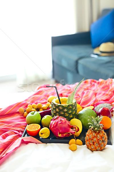 Exotisch vruchten dienblad voedsel vruchten Stockfoto © dashapetrenko