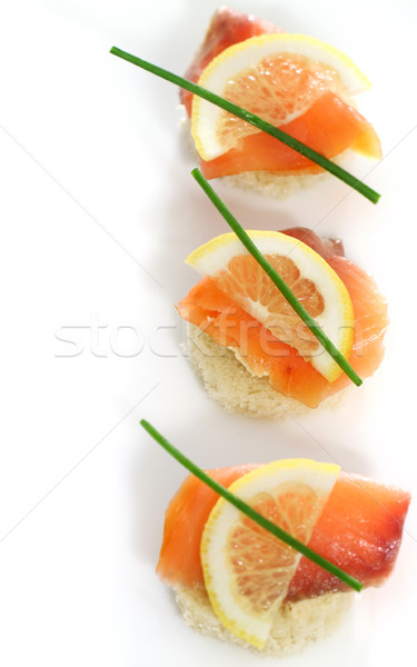 Extreme close-up of smoked salmon  Stock photo © dashapetrenko